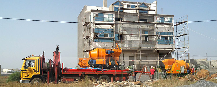 Two sets of Concrete mixer with pump arrived customer's site